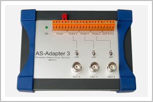 top view AS-Adapter 3 for SPS and oscilloscope for parallel connection of three single axis or one three axis magnetic field probe from the program of AS-active-probes