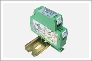 oblique view DIN-rail module AS-probe adapter; 20mm width; for connection of one single axis magnetic fild probe from the program of AS-active-probes