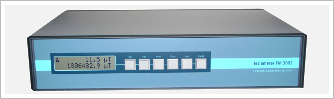 front view high precision Teslameter FM 3002 with high resolution (7½ digit) display; standard version